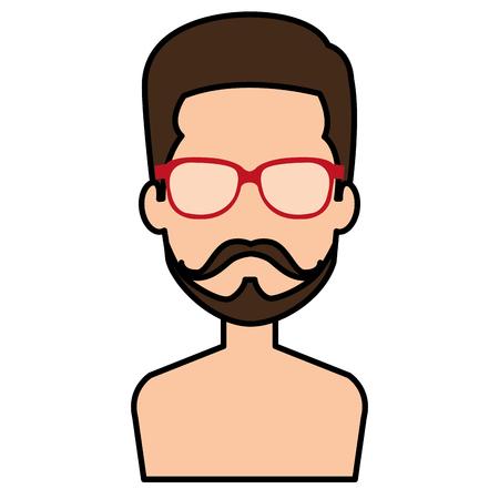 젊은이 shirtless 아바타 캐릭터 벡터 일러스트 레이션 디자인 스톡 콘텐츠 - 86967160