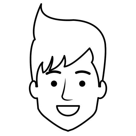젊은이 머리 아바타 캐릭터 벡터 일러스트 레이 션 디자인. 스톡 콘텐츠 - 86934182