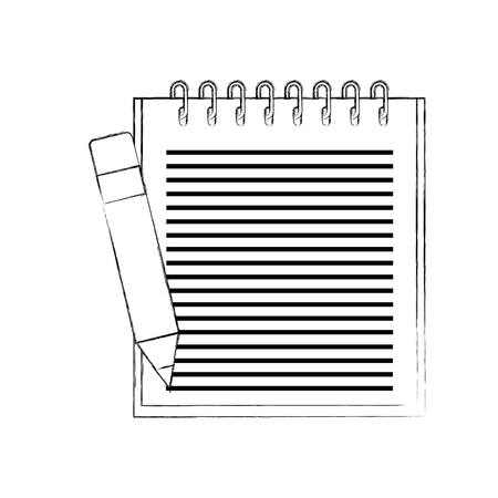 School notebook spiral with pencil education element vector illustration Illustration