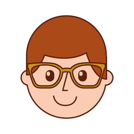 cartoon happy young boy with glasses teacher day vector illustration Illustration