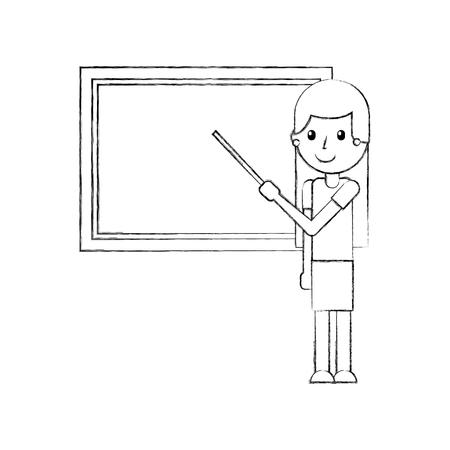 cartoon teacher with pointer standing in front of blackboard vector illustration