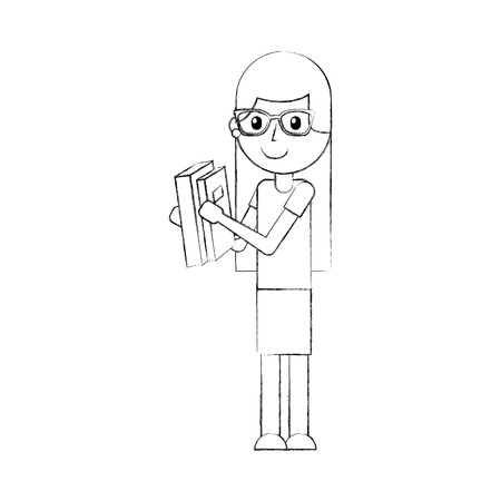 cute school girl with glasses holding book student learn vector illustration Illustration