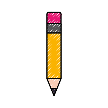 school wooden pencil utensil writing icon vector illustration