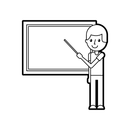 teacher with pointer showing on board on lesson at blackboard in classroom vector illustration Çizim