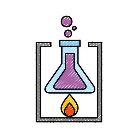 Ilustración de vector de experimento de combustión de tubo de prueba de laboratorio de la escuela Foto de archivo - 87002735