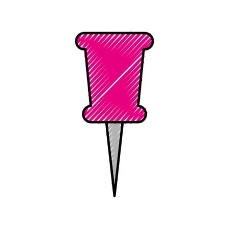 学校プッシュ ピン画鋲側面ツール ベクトル図