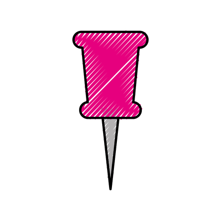 school push pin thumbtack side view tool vector illustration