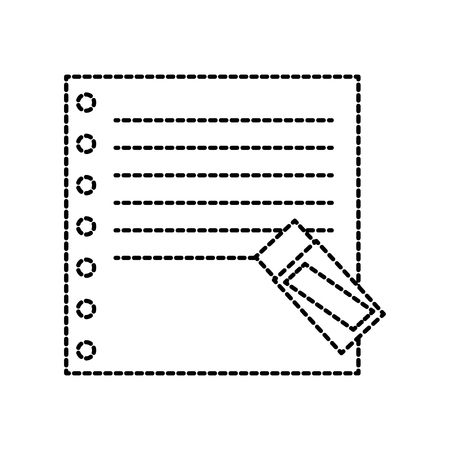A school blank paper note with eraser supply vector illustration