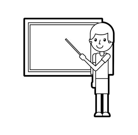 A cartoon teacher with pointer standing in front of blackboard vector illustration Ilustração