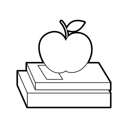 A school books and apple study learn concept vector illustration