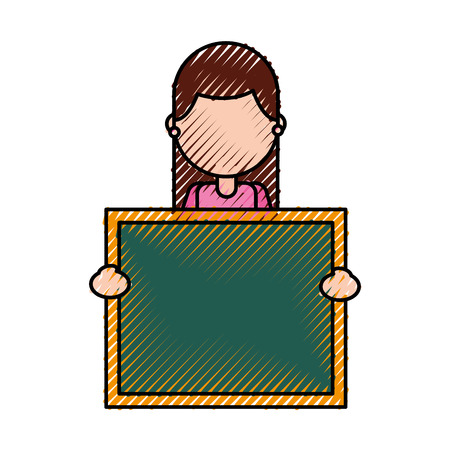 character teacher holding board class element vector illustration