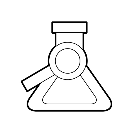 School chemistry flask and magnifier search find vector illustration