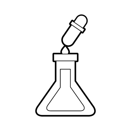 Un tubo de ensayo de la escuela y la ilustración de vector de ciencia líquida cuentagotas Foto de archivo - 87002815