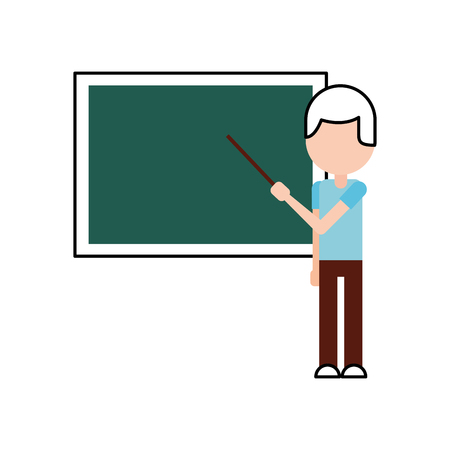 teacher with pointer showing on board on lesson at blackboard in classroom vector illustration Ilustracja