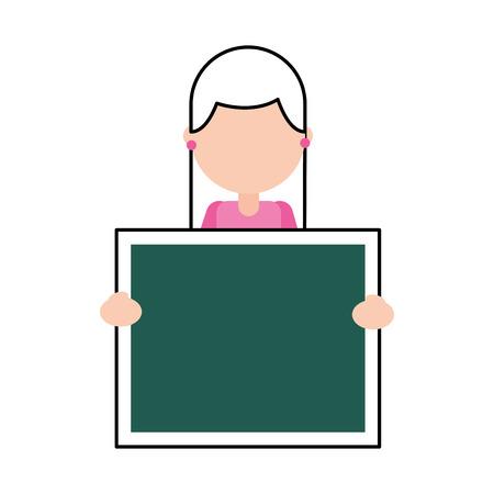 character teacher holding board class element vector illustration