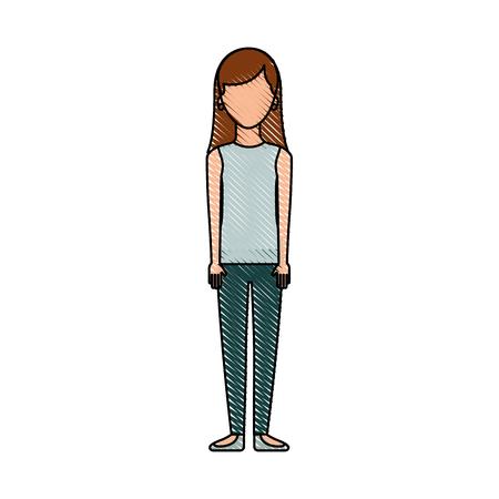 Frau stehend mit Freizeitkleidung Person Vektor-Illustration Standard-Bild - 87002855