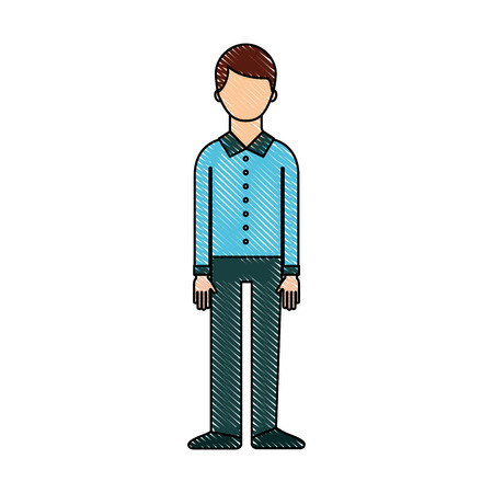 standing man character wearing casual clothes vector illustration