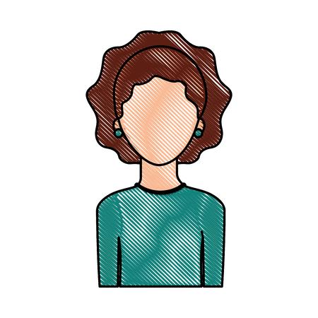 肖像画の女性女性の顔のないライフ スタイル ベクトル図