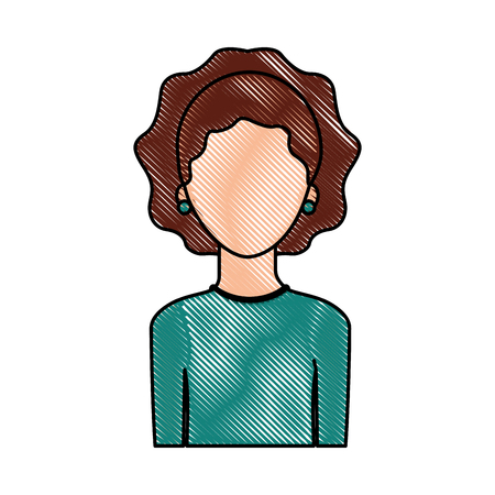 portrait woman female faceless lifestyle vector illustration Ilustracja
