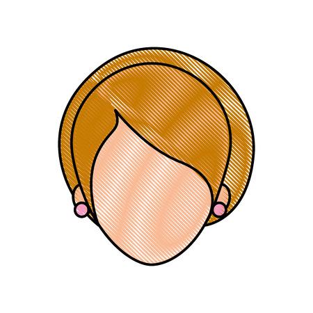 女性の顔漫画女性プロフィール人々 のベクター イラスト