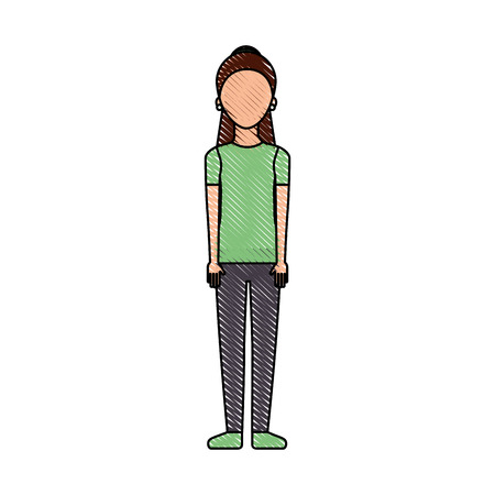 Woman standing with green casual shirt vector illustration