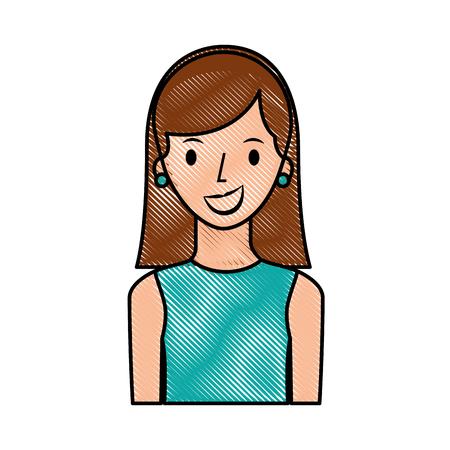 portrait happy woman female young lifestyle vector illustration