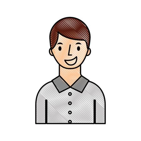 portrait man young character person cartoon vector illustration Illustration