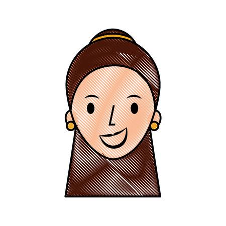 Donna cartone animato faccia femminile profilo persone illustrazione vettoriale Archivio Fotografico - 87002971