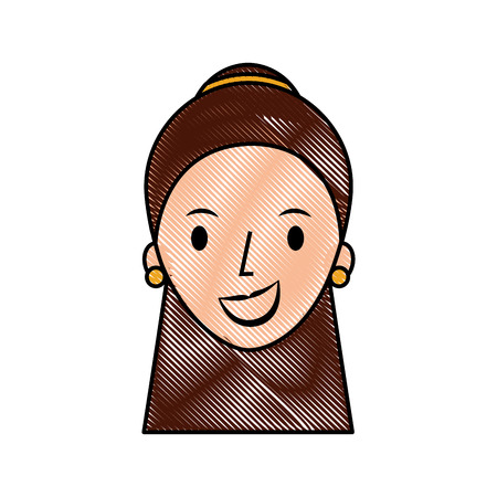 female face cartoon woman profile people vector illustration