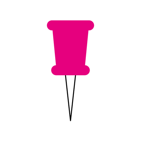 Pink push pin isolated vector illustration Ilustração