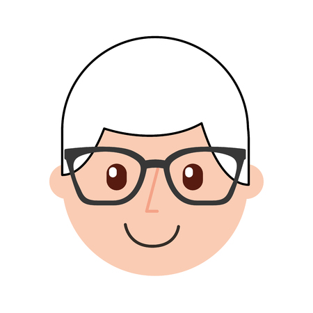 Caricatura de un niño feliz con gafas ilustración vectorial Foto de archivo - 87002991