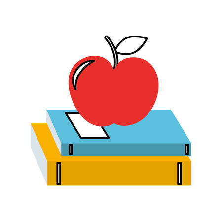 School books and fruit isolated vector illustration