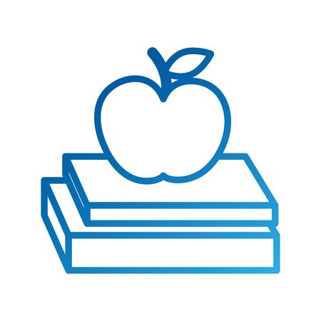 school books and apple study learn concept vector illustration Illustration