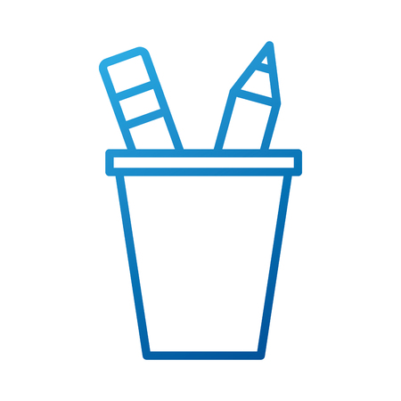 school plastic cup with pencil pen supplies vector illustration