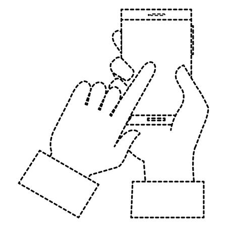스마트 폰 장치 격리 된 아이콘 벡터 일러스트 디자인 손으로 인간의