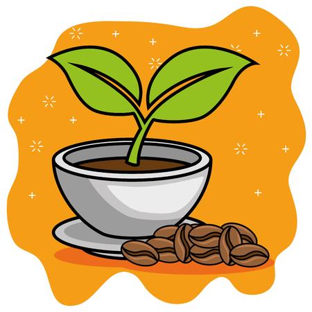 コーヒー豆漫画ベクトル イラスト グラフィック デザイン  イラスト・ベクター素材