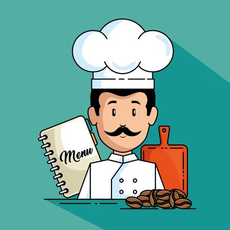 professional chef cartoon vector illustration graphic design