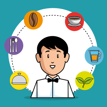 young waiter cartoon vector illustration graphic design