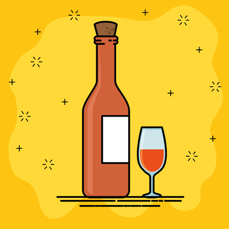 red wine and wineglass cartoon vector illustration graphic design Illustration