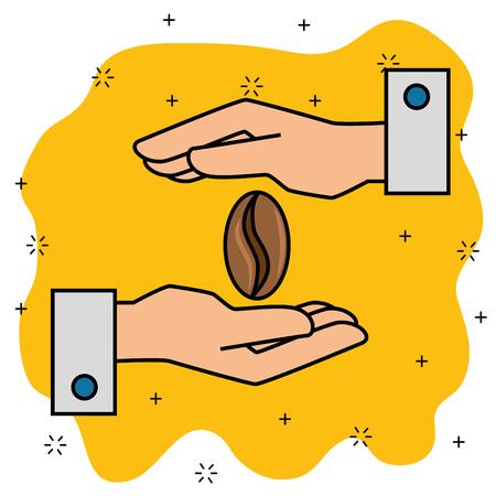 커피 콩 만화 벡터 일러스트 그래픽 디자인