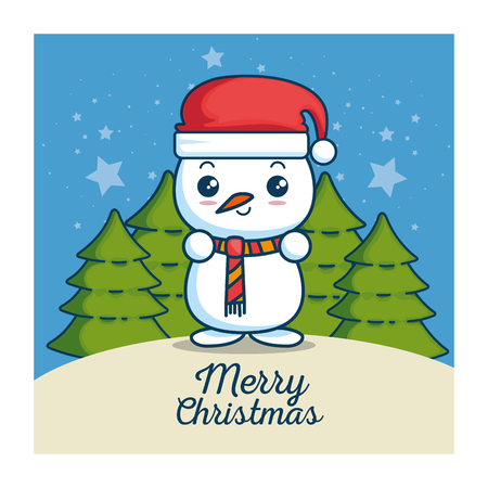 merry christmas kawaii concept vector illustration graphic design