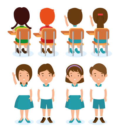 set of children student vector illustration graphic design