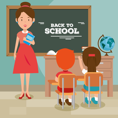 back to school teacher teaching to her students vector illustration graphic design