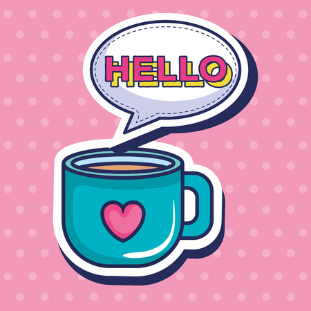 coffee cup with heart pop art style vector illustration design