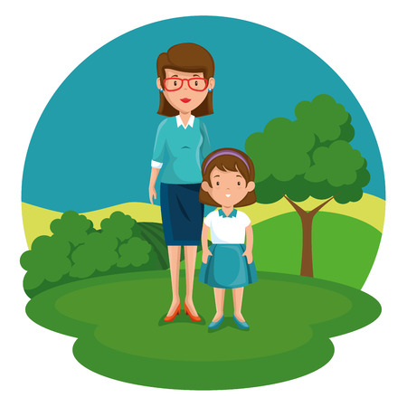lesson: teacher with students vector illustration graphic design