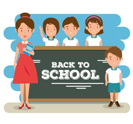 terug naar schoolleraar lesgeven aan haar studenten vector illustratie grafisch ontwerp