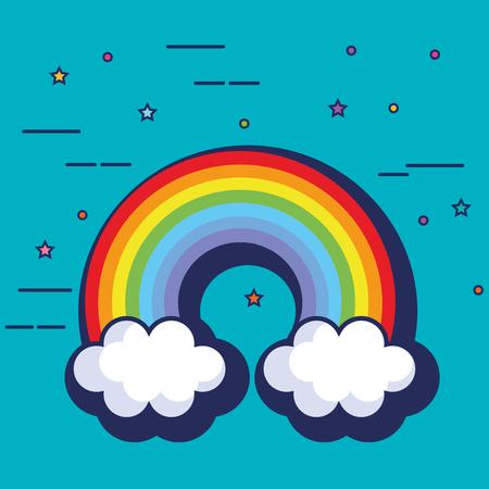 Cute rainbow fantasy icon vector illustration design