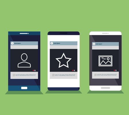 Mobile phones set isolated icons Ilustrace