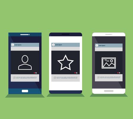 Mobile phones set isolated icons Illusztráció