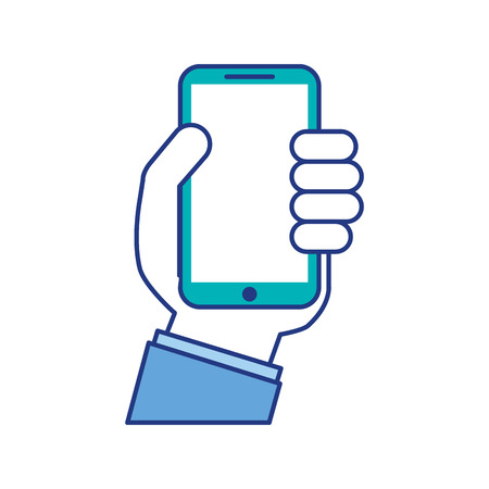 hand holding smartphone device digital vector illustration
